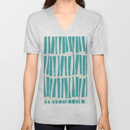 Aqua Teal Turquoise Solid Color Vertical Dash Stripe Line Pattern on Alabaster White - Aquarium SW 6767 Unisex V-Neck