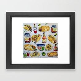 tacos burritos hot sauce and salsa Framed Art Print