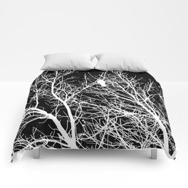 Modern Contemporary Black and White Tree Bird Art A539 Comforters