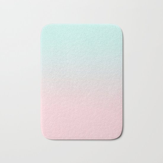 Ellie - ombre fade pastel pink and mint gender neutral nursery baby girly trend style Bath Mat