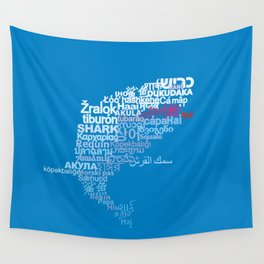 Shark in Different Languages Wall Tapestry