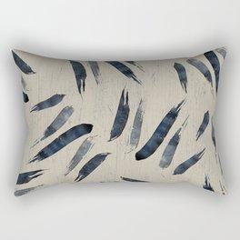 Blue Indigo Brush Watercolor Stroke Decor Pattern Rectangular Pillow