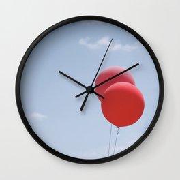 Red Balloons Wall Clock