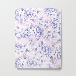 Floral pattern in pink and blue Metal Print