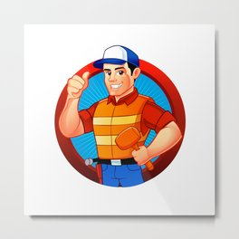 handyman wearing work clothes and a belt with tools. Metal Print