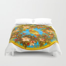 Colourful Yellow Parakeet In Flowery Wreath Duvet Cover