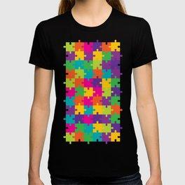 Colorful Jigsaw Puzzle Pattern T-shirt