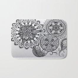 Black & White Mandala Celtic Knot Zentange Zen Tangle PaisleyPattern Design Bath Mat