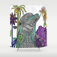dolphin Shower Curtains featuring Dolphin by Irrelephant Art by Laura Jane Powell