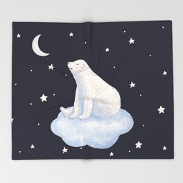 white bear on the cloud Throw Blanket