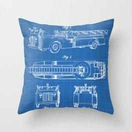 Fire Truck Patent - Aerial Fireman Truck Art - Blueprint Throw Pillow