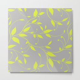FLOWERY VINES | grey lime green Metal Print