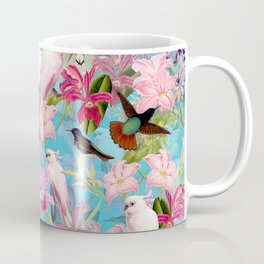 Vintage & Shabby Chic - Pink Tropical Birds and Orchid Flower Pattern Coffee Mug