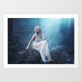 Nymphaea - forest girl magic smoke Art Print