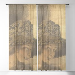 Golden victorian lady Sheer Curtain
