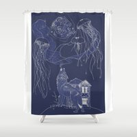jelly fish Shower Curtains featuring Jelly Fish by Jessica Bowman Illustrates