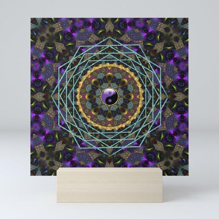 Purple Yin Yang Sacred Geometry Fractals Mini Art Print