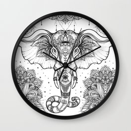 Beautiful hand-drawn tribal style elephant Wall Clock