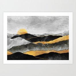 Gold and Grey Peaks Art Print
