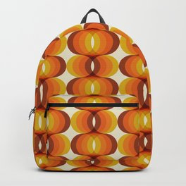 Orange, Brown, and Ivory Retro 1960s Wavy Pattern Backpack