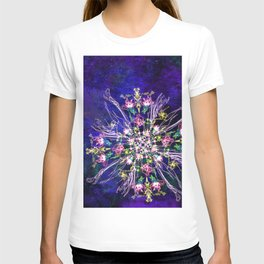 Abstract delicate silk flowers T-shirt