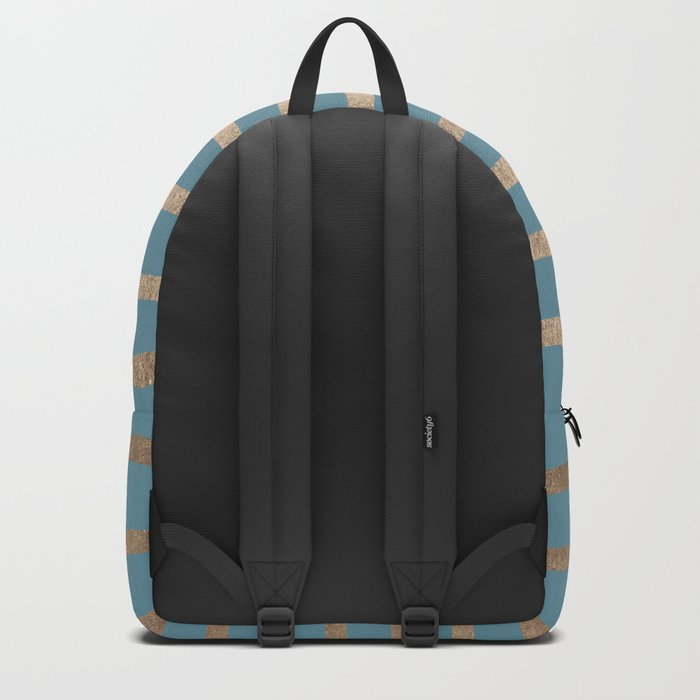 Abstract Drawn Stripes Gold Tropical Ocean Blue Backpack