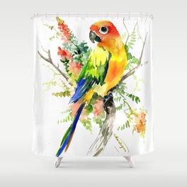Sun Conure Parakeet, tropical colors parrot art design Shower Curtain