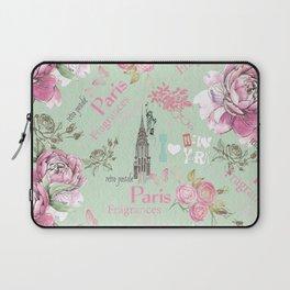 Vintage green pink floral collage typography Laptop Sleeve