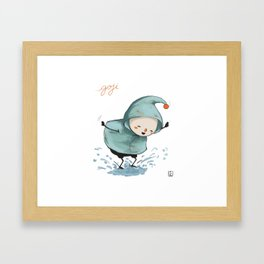 Goji welcomes the rain! Framed Art Print