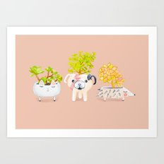 Kawaii dog cat hedgehog succulents Art Print