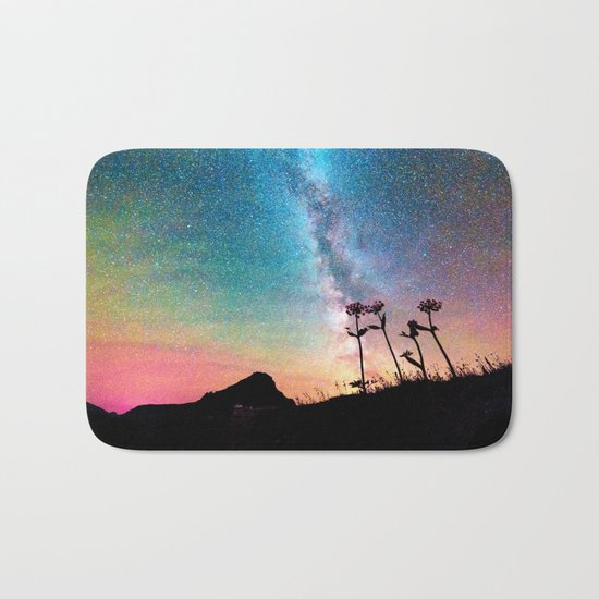 Milky Way Landscape Rainbow Pastel Bath Mat