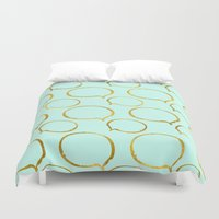 gold foil Duvet Covers featuring Mint Gold Foil 01 by Aloke Design