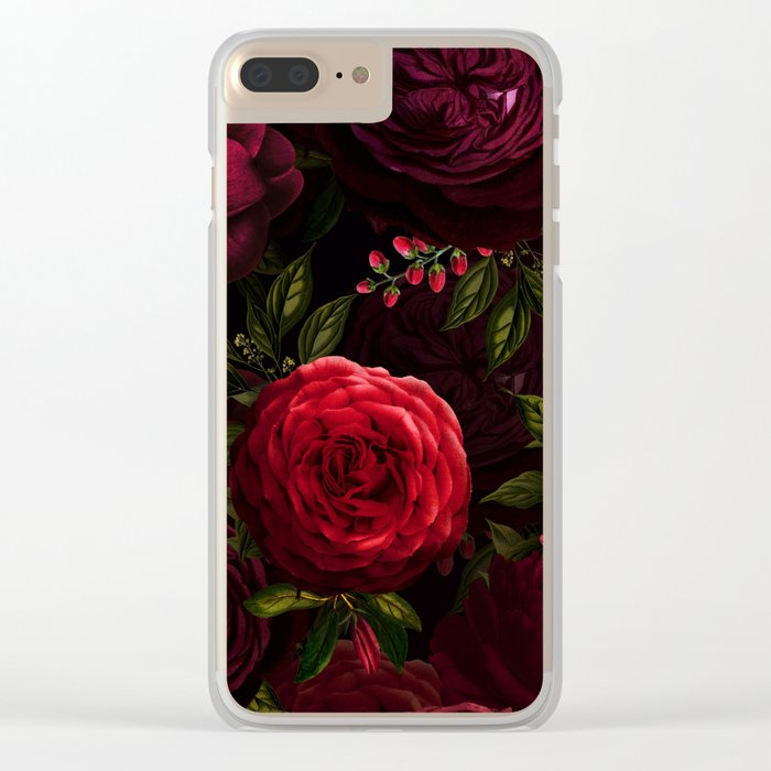 Mystical Night Roses Clear iPhone Case