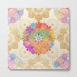 Beautiful Colorful Bohemian Mandala Pattern Metal Print