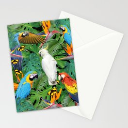 Macaw Parrots - Bird of Paradies Jungle Butterflies Stationery Cards