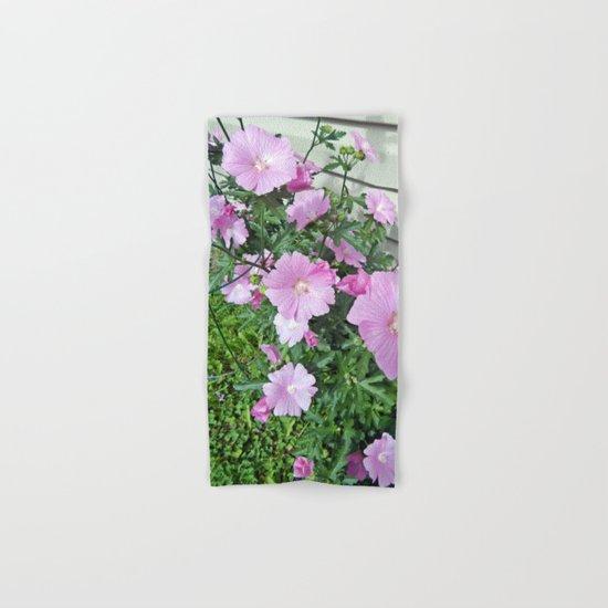 Pink Musk Mallow Bush in Bloom Hand & Bath Towel