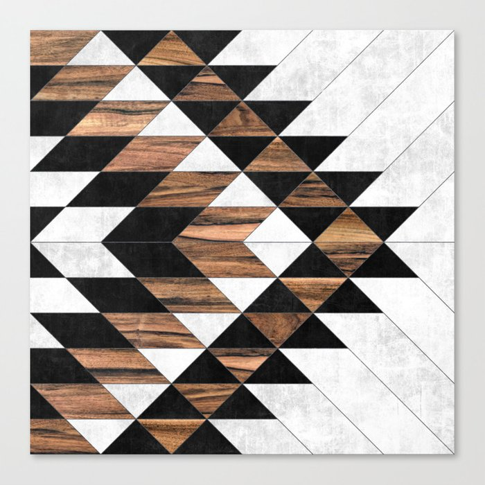 Urban Tribal Pattern No.9 - Aztec - Concrete and Wood Leinwanddruck