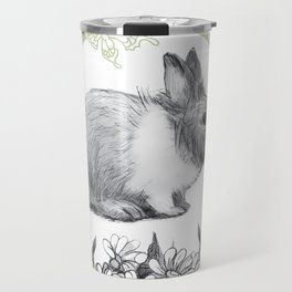 Rabbit fluffy gray on a green background Travel Mug