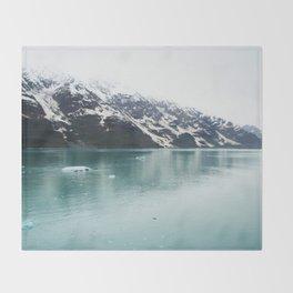 Hubbard Glacier Snowy Mountains Alaska Wilderness Throw Blanket