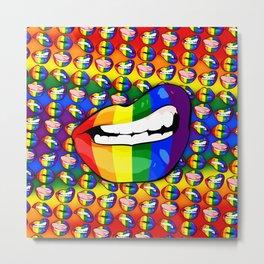 LGBTQ Rainbow Lips Snarl Metal Print