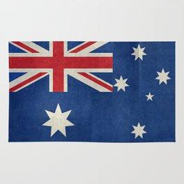"Australian flag, retro ""folded"" textured version (authentic scale 1:2) Rug"