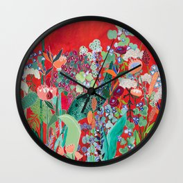 Floral Jungle on Red with Proteas, Eucalyptus and Birds of Paradise Wall Clock
