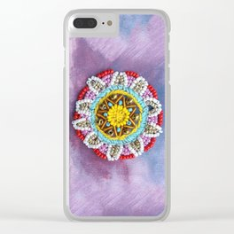 Beaded sunshine mandala for your bright mood Clear iPhone Case