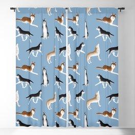 Husky Pattern (Blue Gray Background) Blackout Curtain
