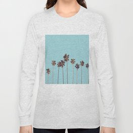 palm trees turquoise Long Sleeve T-shirt