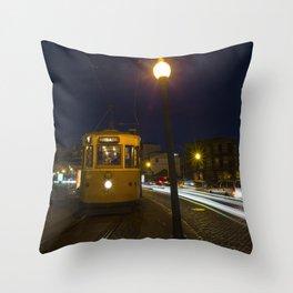Porto Night Tram Throw Pillow