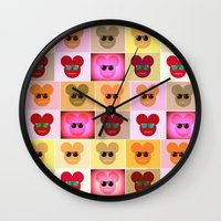 mike wrobel Wall Clocks featuring Mike by bisualhart