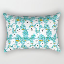 White cute fur seal and fish in water Rectangular Pillow