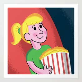 Movie Theater Time with Buttered Popcorn Art Print
