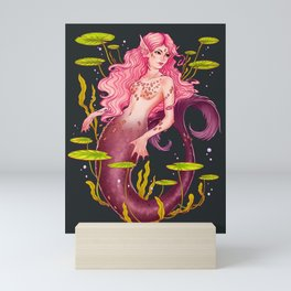 Pink Mermaid and lily pads on Dark Background Mini Art Print